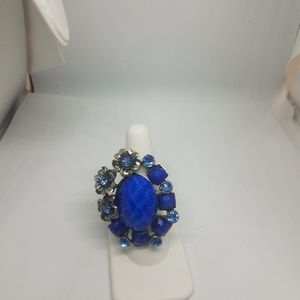 Large Silver Tone Adjustable Ring Blue Faceted Cab